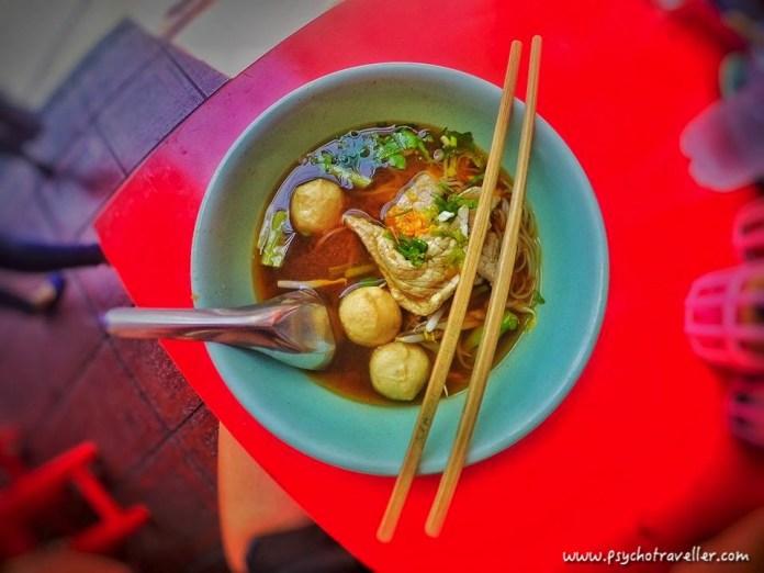 Thai pork soup and noodles