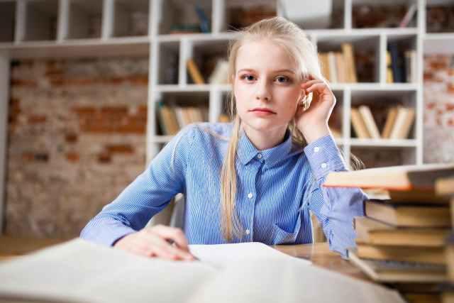 pretty student on a desk