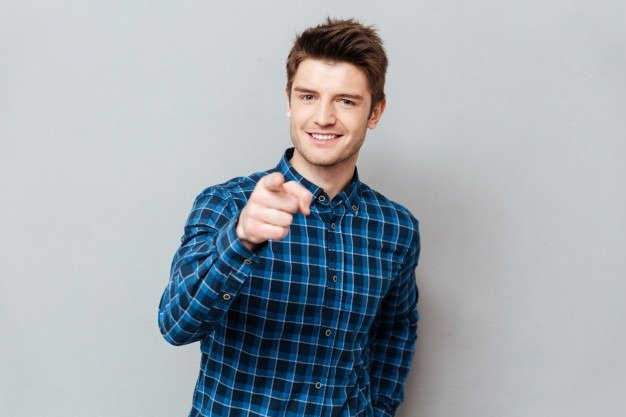 handsome man pointing