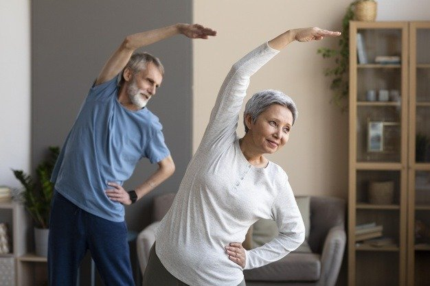 older couple doing exercise