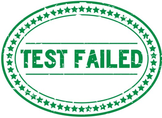 Test failed stamp in green ink