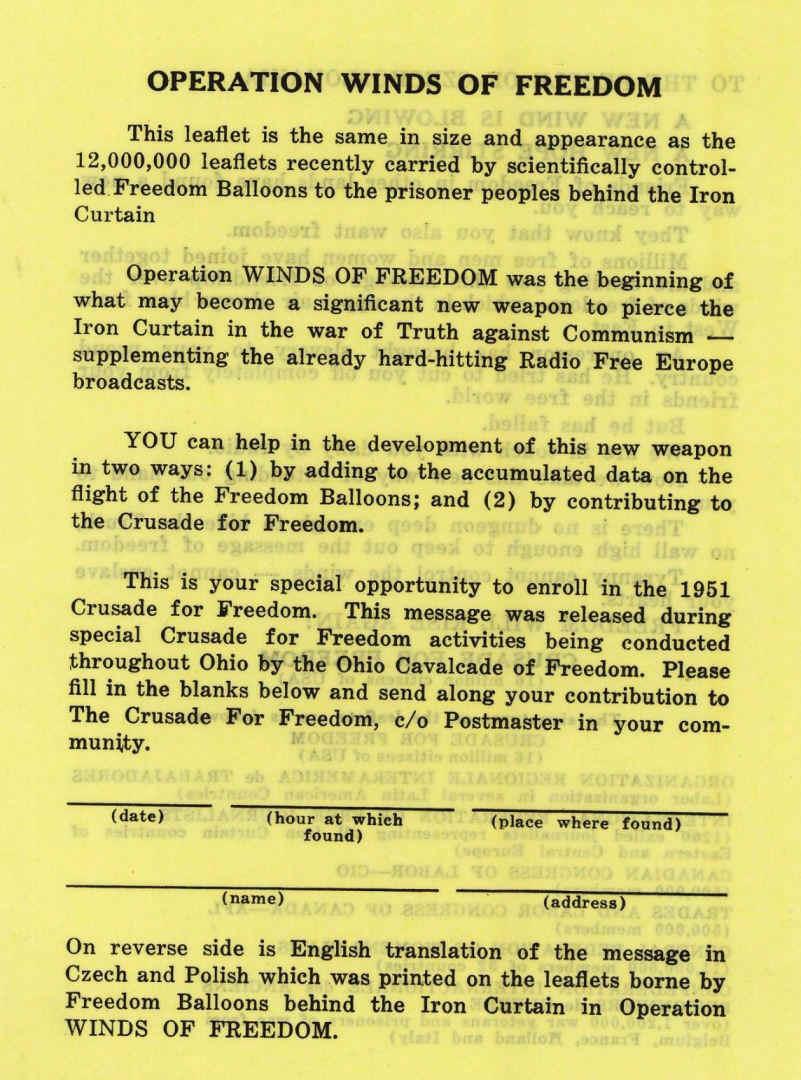 Free Europe Press Cold War Leaflets