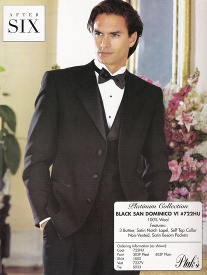 After Six Black San Dominico VI 3 B Notch Tux Style#722HU