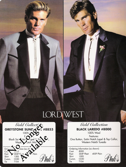 Lord West Black Laredo Western 1 B Notch Tux Style#8000