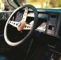 steering wheel of a vintage car