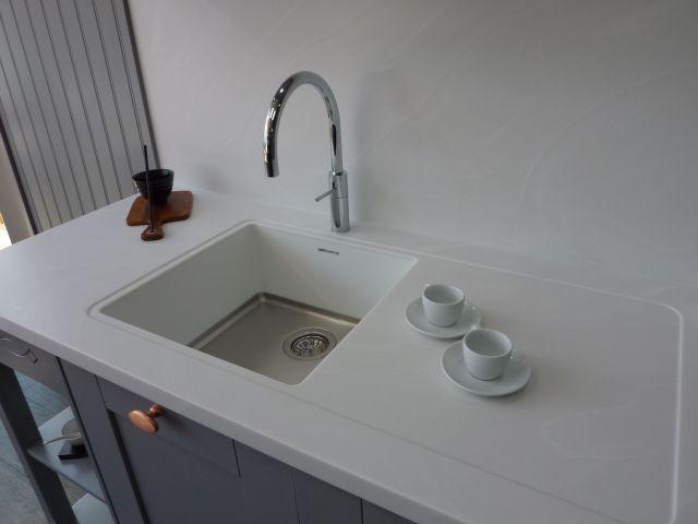Corian sink worktop and seamless splashback PTC Kitchens