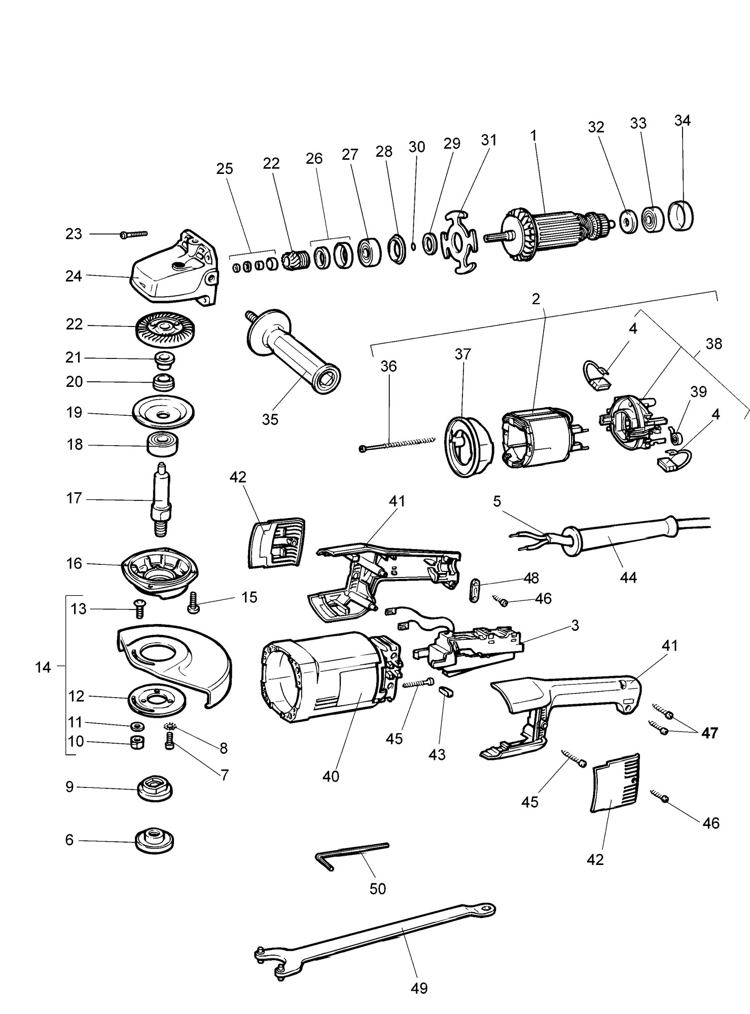 Spares For Elu Ws53e Angle Grinder Type 1 Spare Ws53e