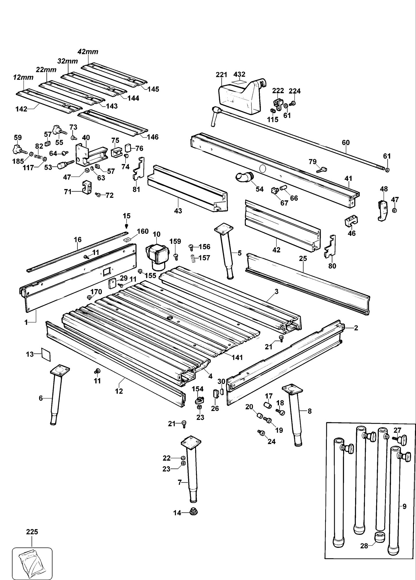 Spares For Elu Ert20 Router Table Type 1 Spare Ert20