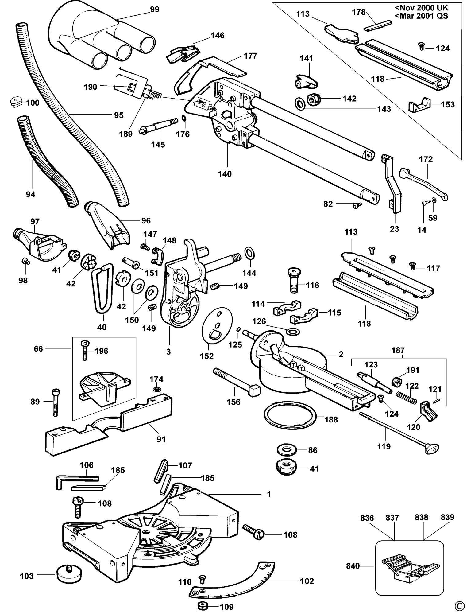 Spares For Dewalt Dw707 Mitre Saw Type 1 Spare Dw707