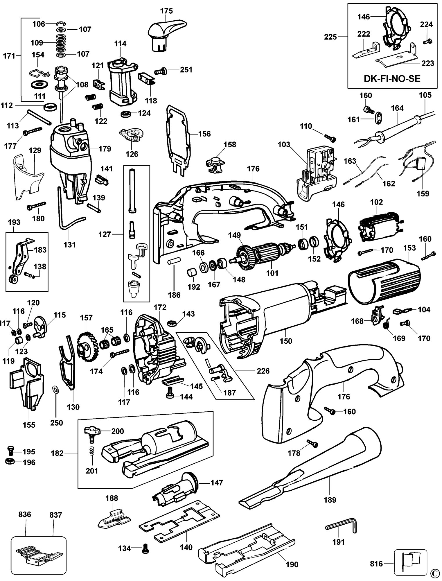 Spares For Dewalt Dw321 Jigsaw Type 1 Spare Dw321 Type 1