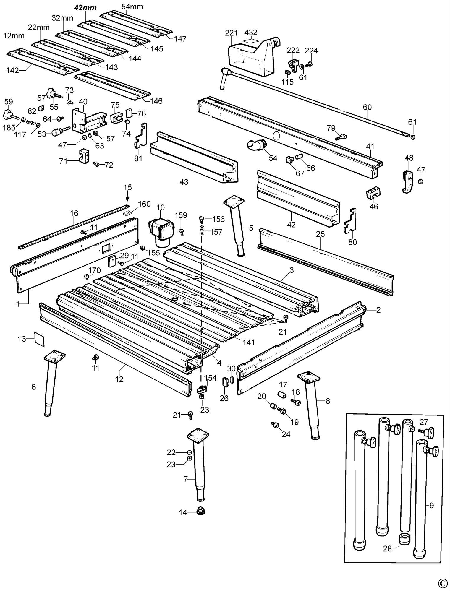 Spares For Dewalt De Router Table Type 1 Spare