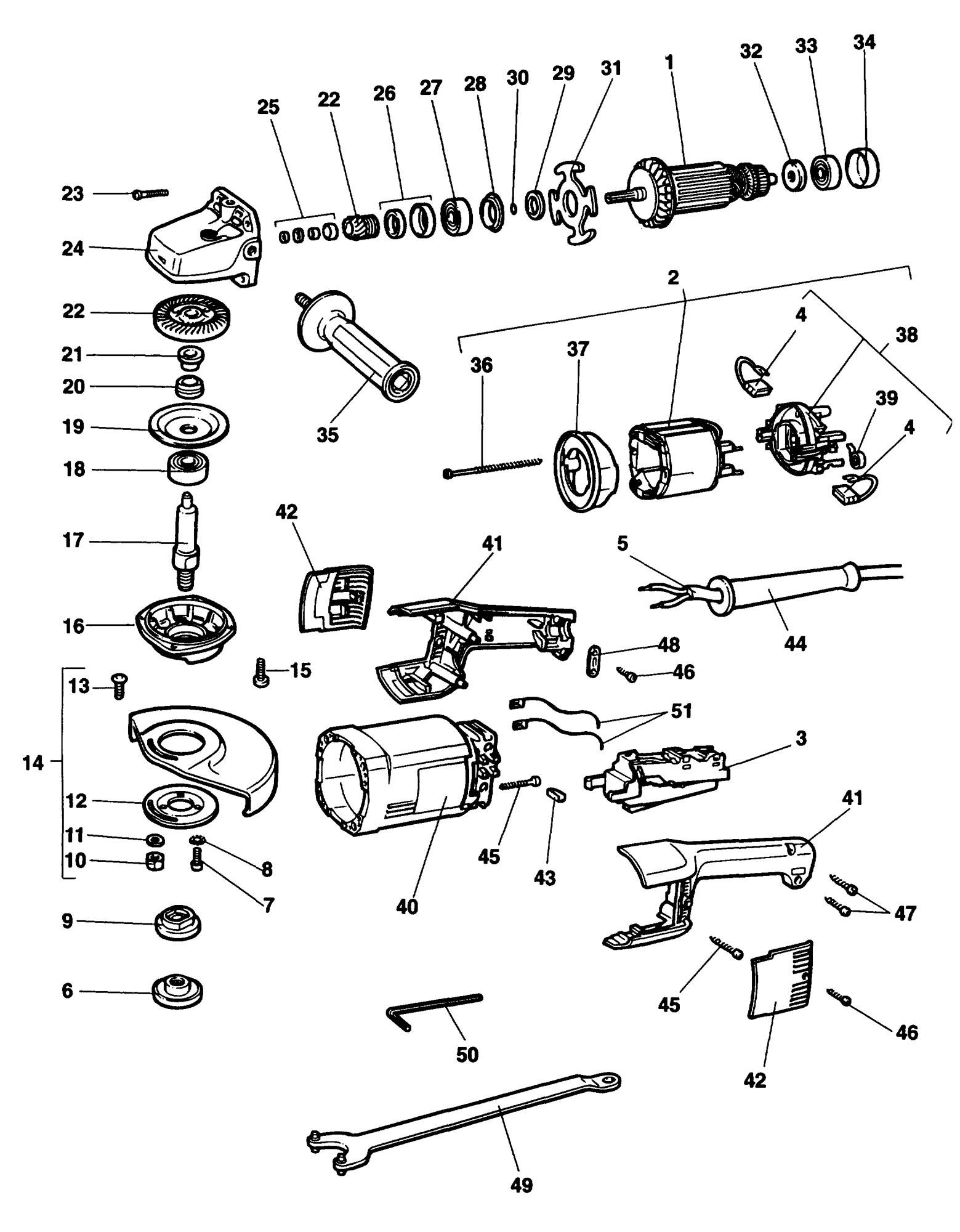 Spares For Dewalt Dw852 Angle Grinder Type 1 Spare Dw852
