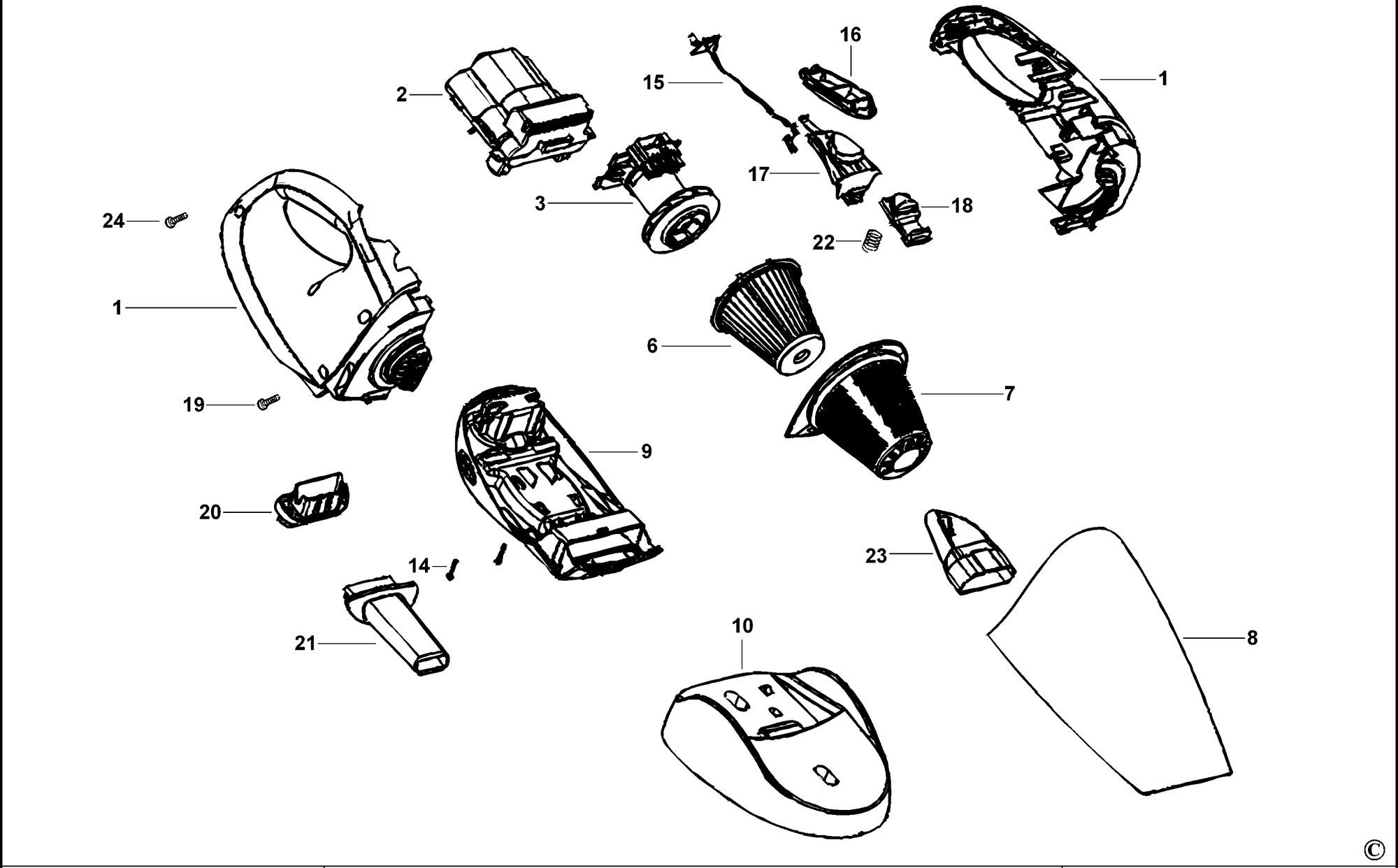 Spares For Black Amp Decker V Dustbuster Type H1 Spare