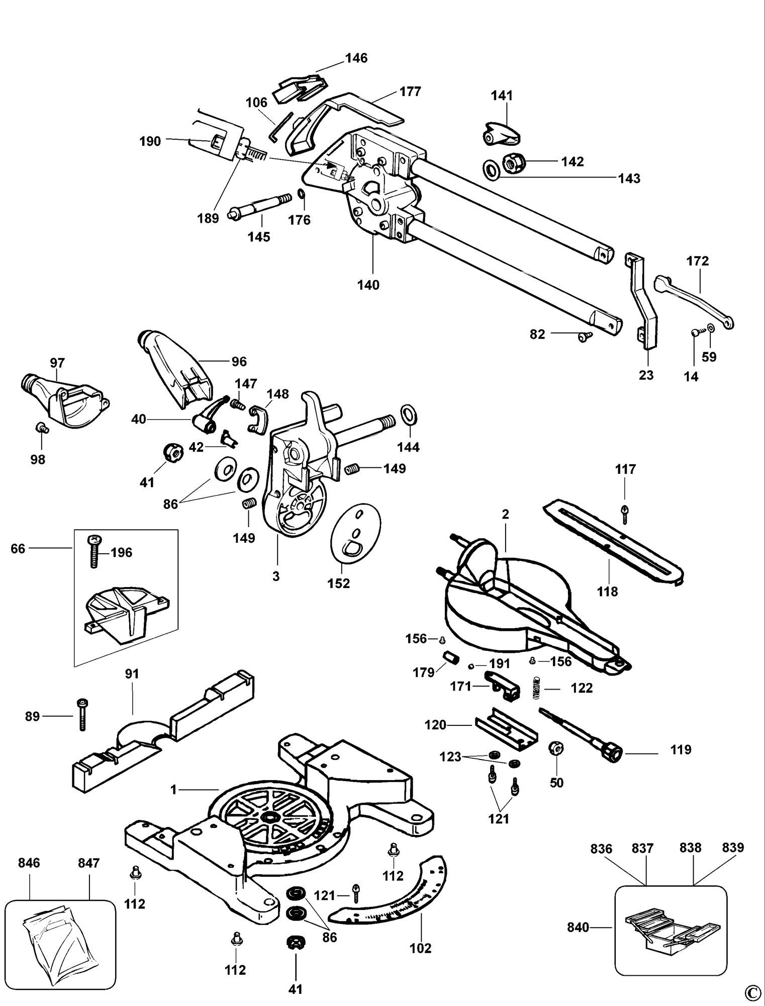 Spares For Dewalt Dw707 Mitre Saw Type 2 Spare Dw707