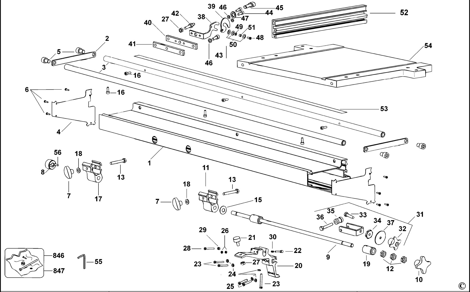Spares For Dewalt D Extension Table Type 1 Spare D Type 1 From Power Tool Centre