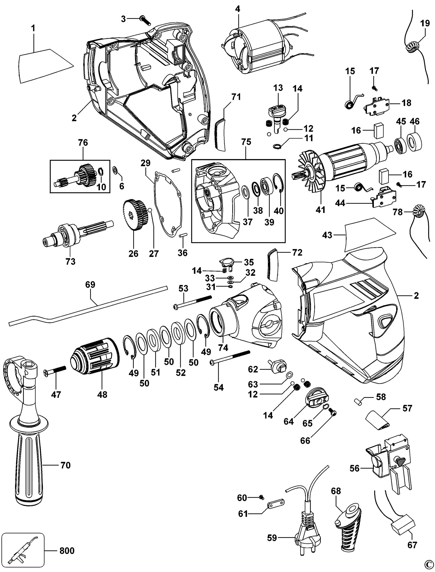 Spares For Black Amp Decker Kr110 Hammer Drill Type 1 2 Spare Kr110 Type 1 2 From Power Tool Centre