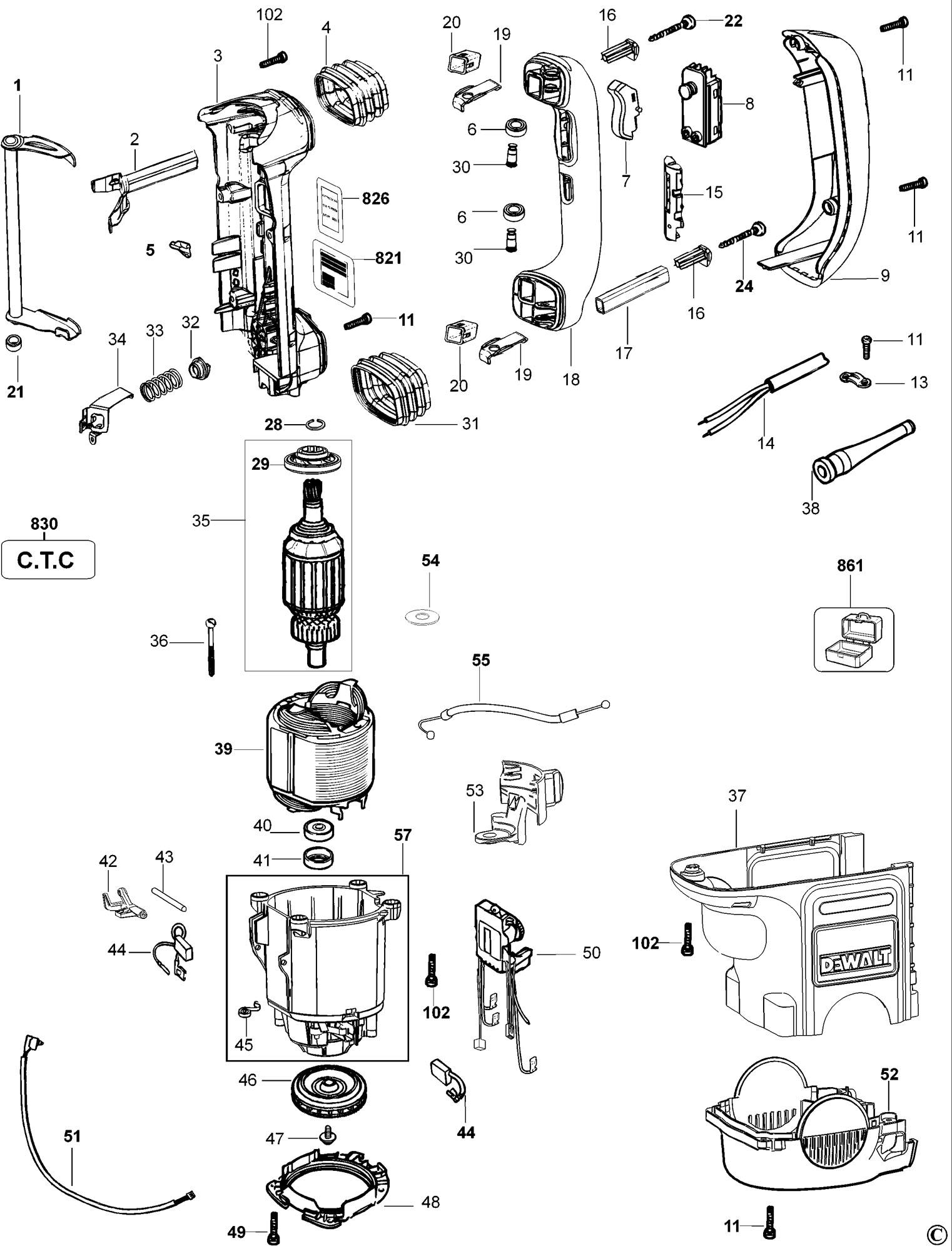 Spares For Dewalt D K Rotary Hammer Type 1 Spare