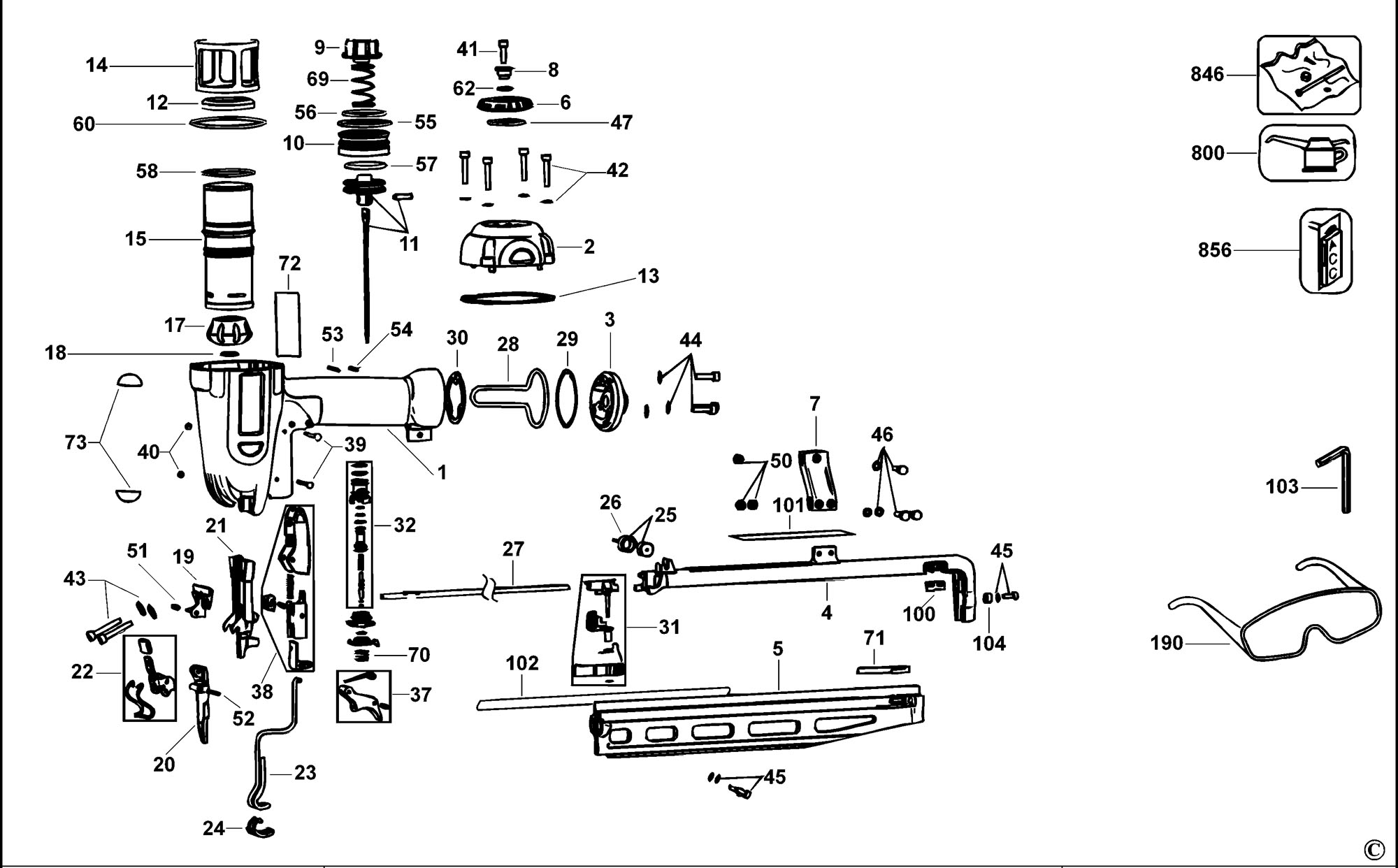Spares For Dewalt D K Finish Nailer 16 Gauge Type 2