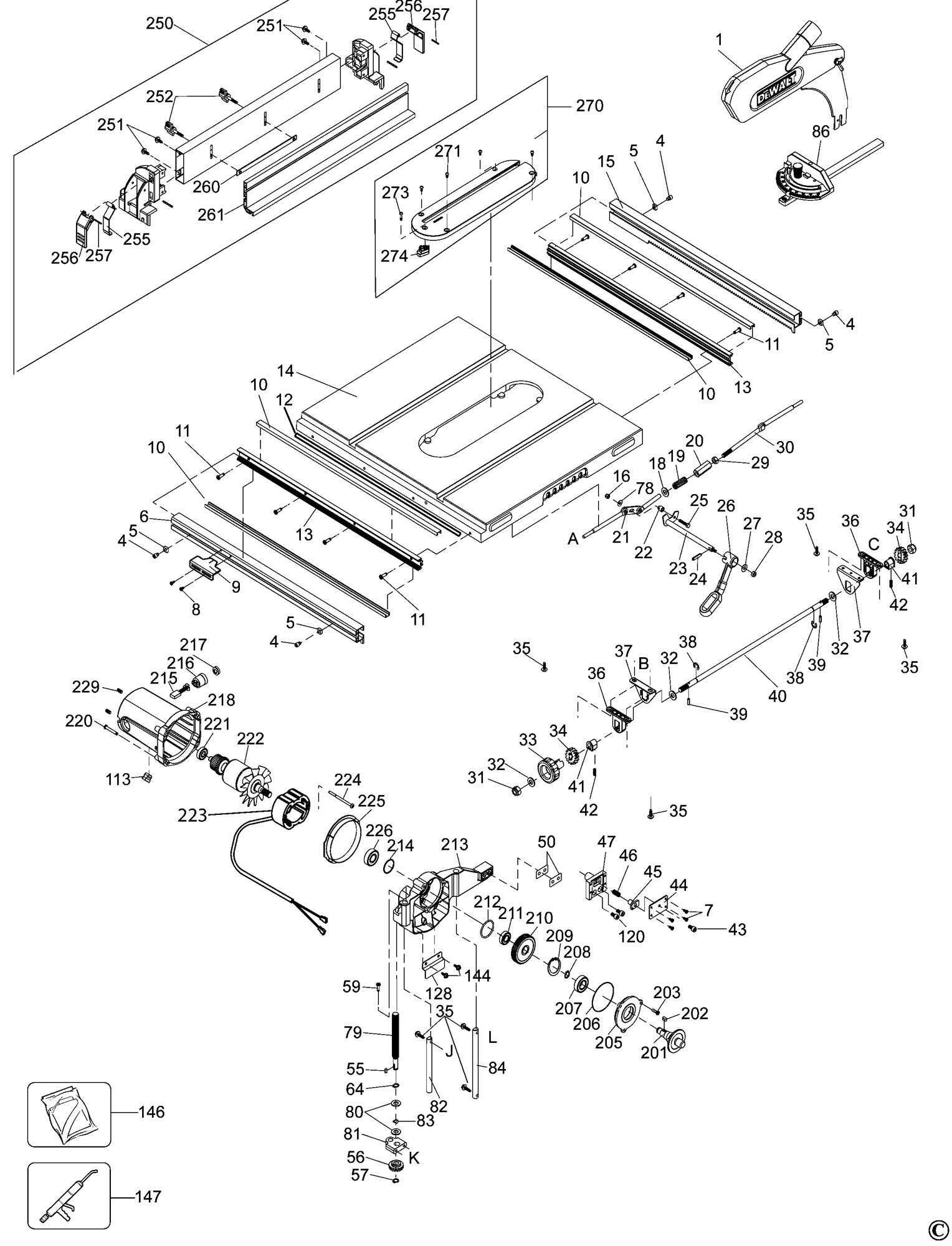 Spares For Dewalt Dw745 Table Saw Type 1 Spare Dw745