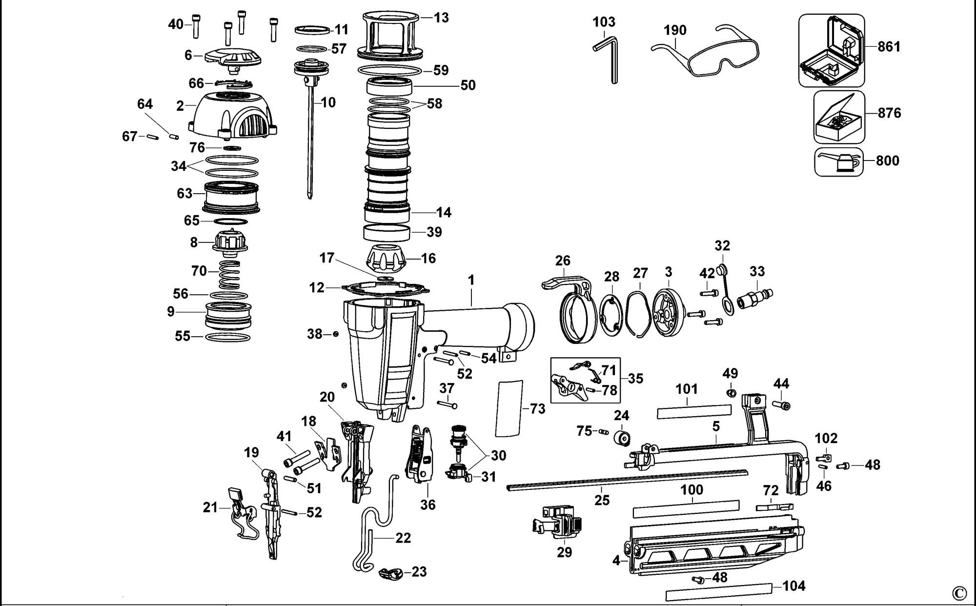 Spares For Dewalt D K Finish Nailer 16 Gauge Type 1