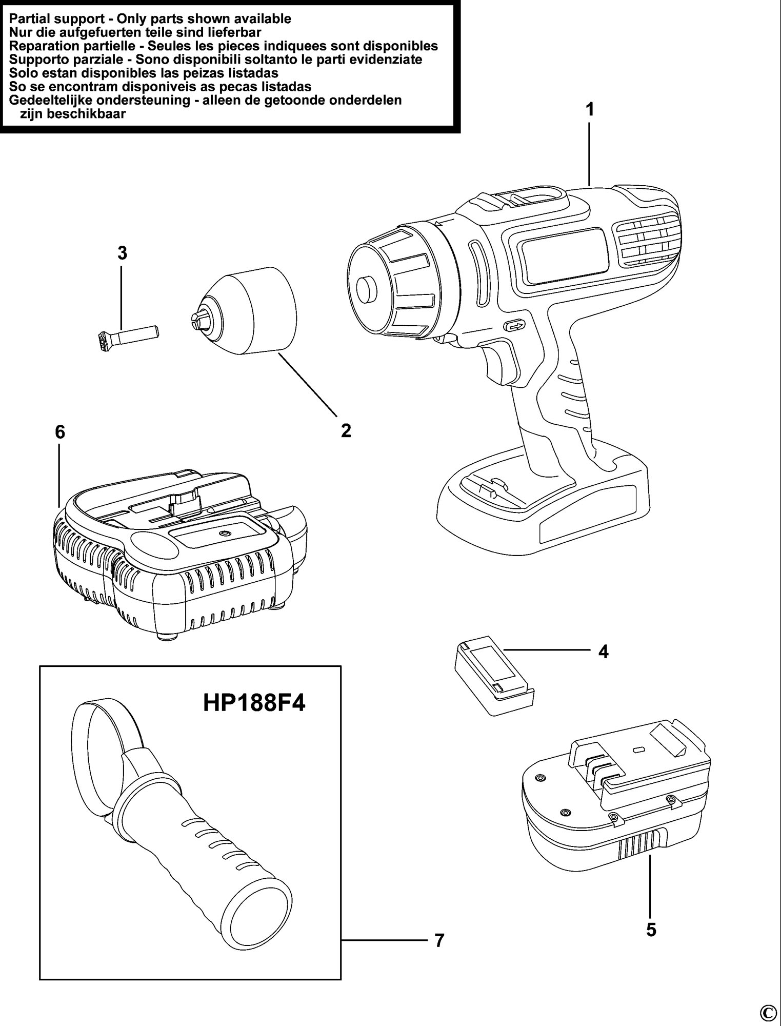 Spares for black decker hp188f4bk cordless drill type h1