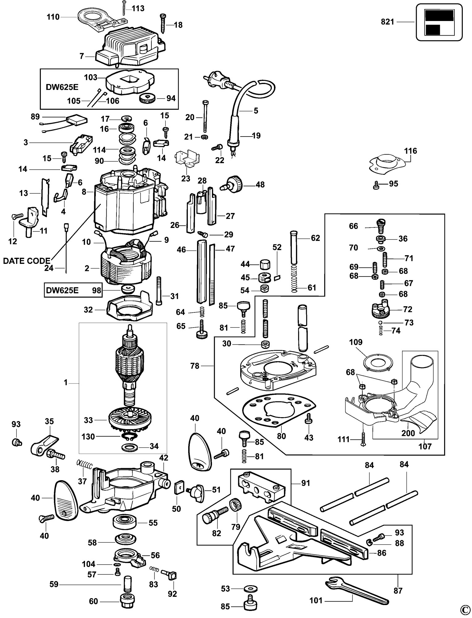 Spares For Dewalt Dw625e Router Type 6 Spare Dw625e Type