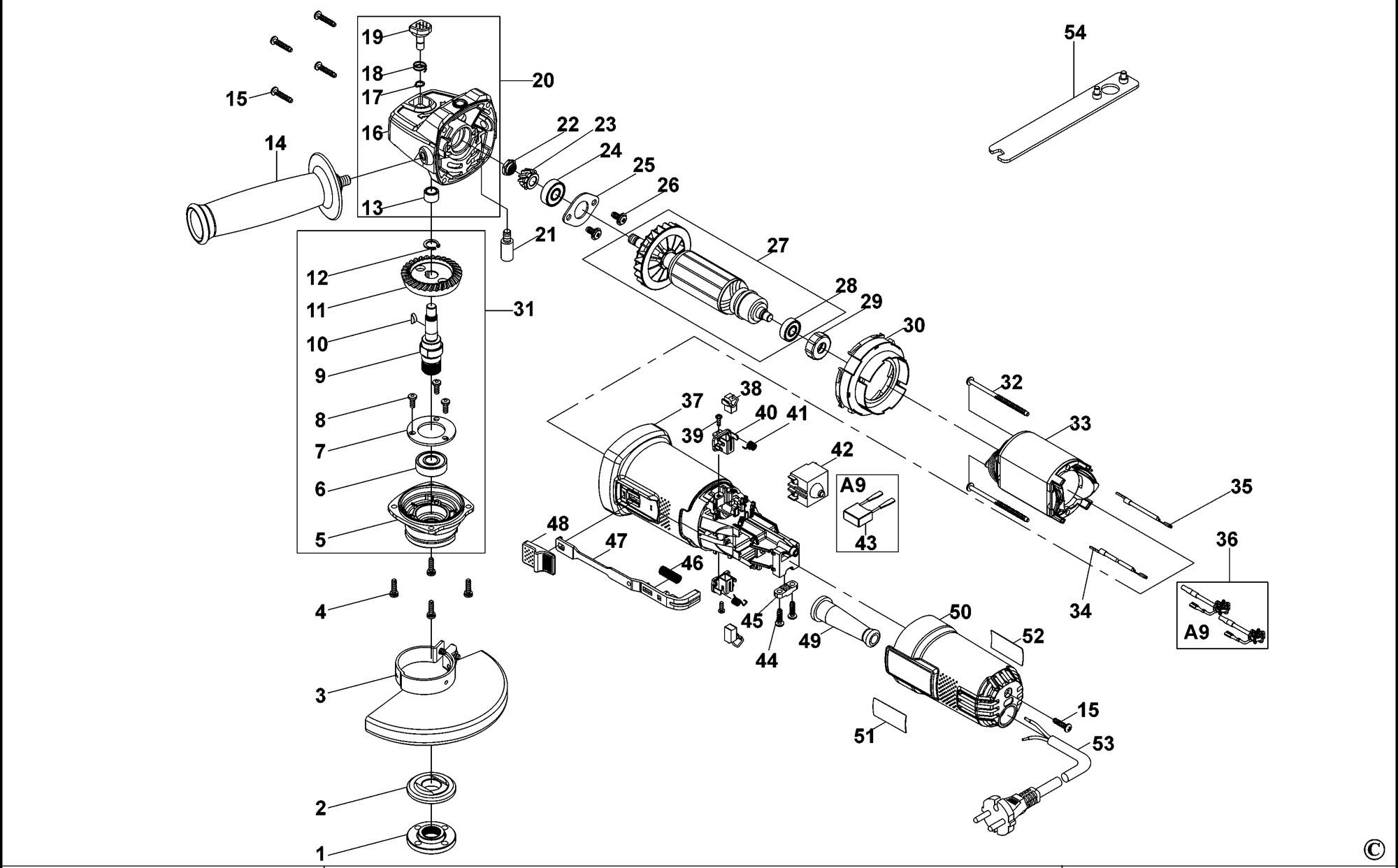 Spares For Black Amp Decker Ktg16 Angle Grinder Type 1
