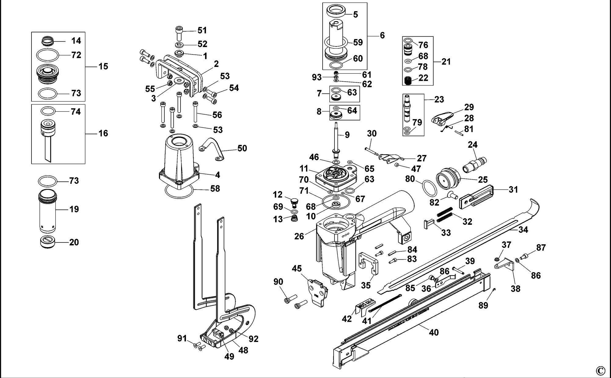 Spares For Bostitch P88sj Pneumatic Stapler Type Revc Spare P88sj Type Revc From Power Tool Centre
