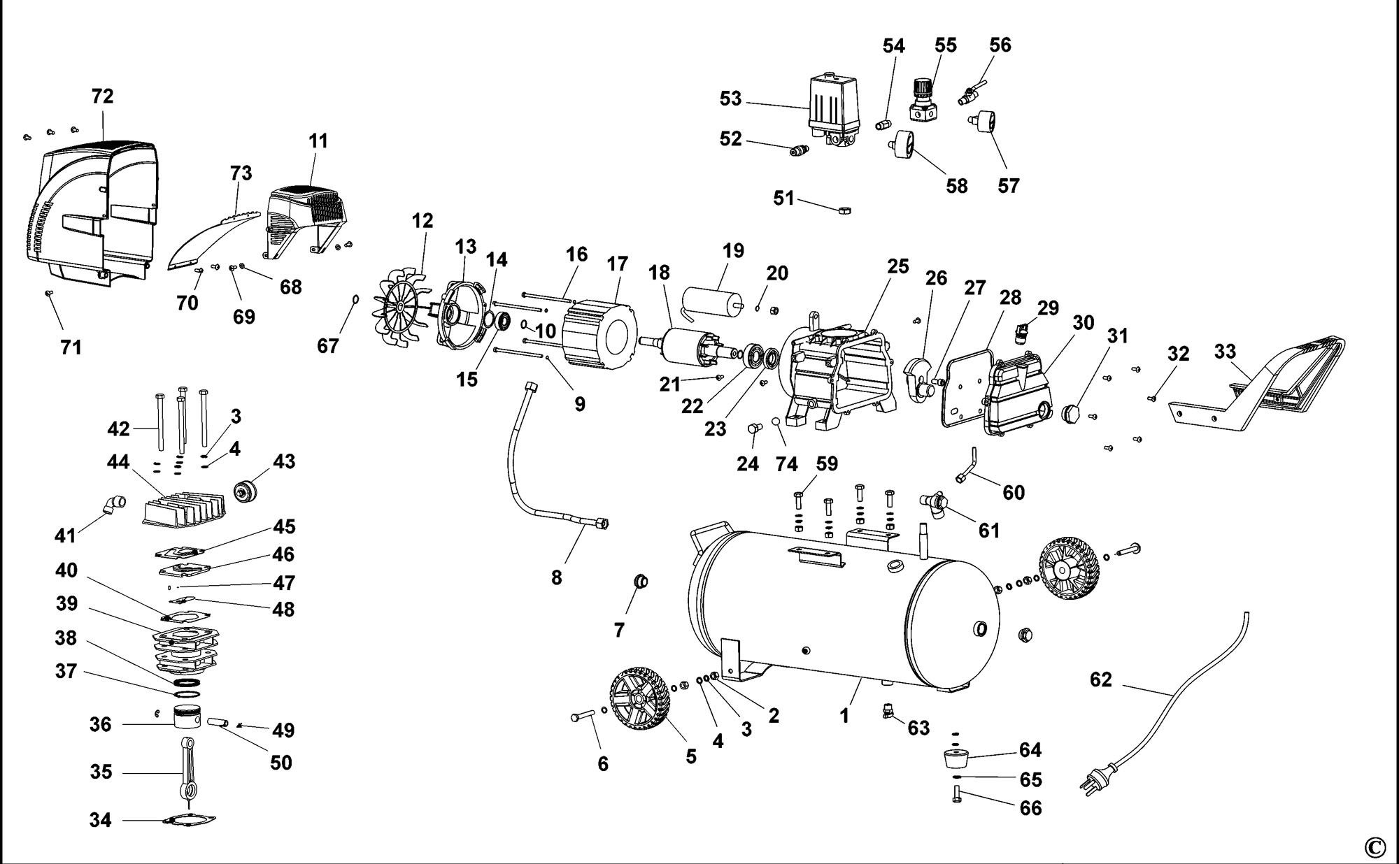 Spares For Stanley Stct224 Compressor Type 1 Spare Stct224 Type 1 From Power Tool Centre
