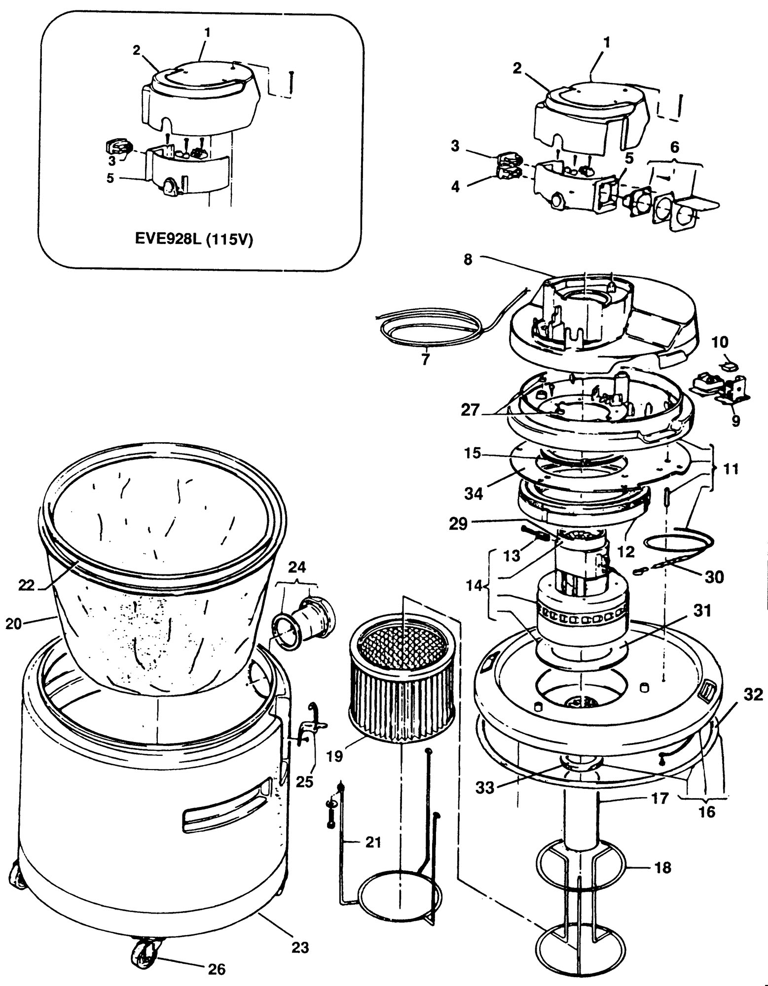 Spares For Elu Eve928 Vacuum Extractor Type 1 Spare