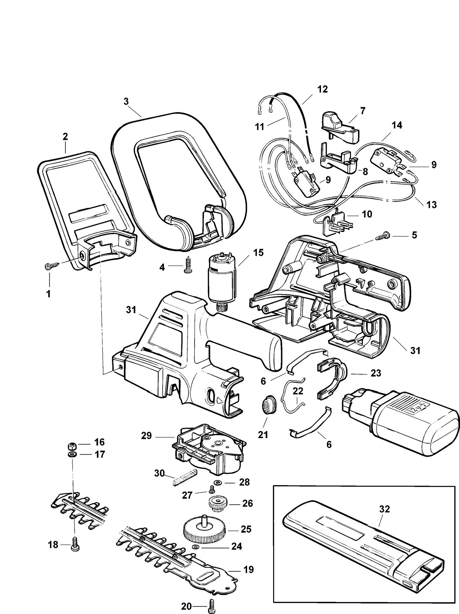 Spares For Black Amp Decker Gtc380 Cordless Clipper Type 1