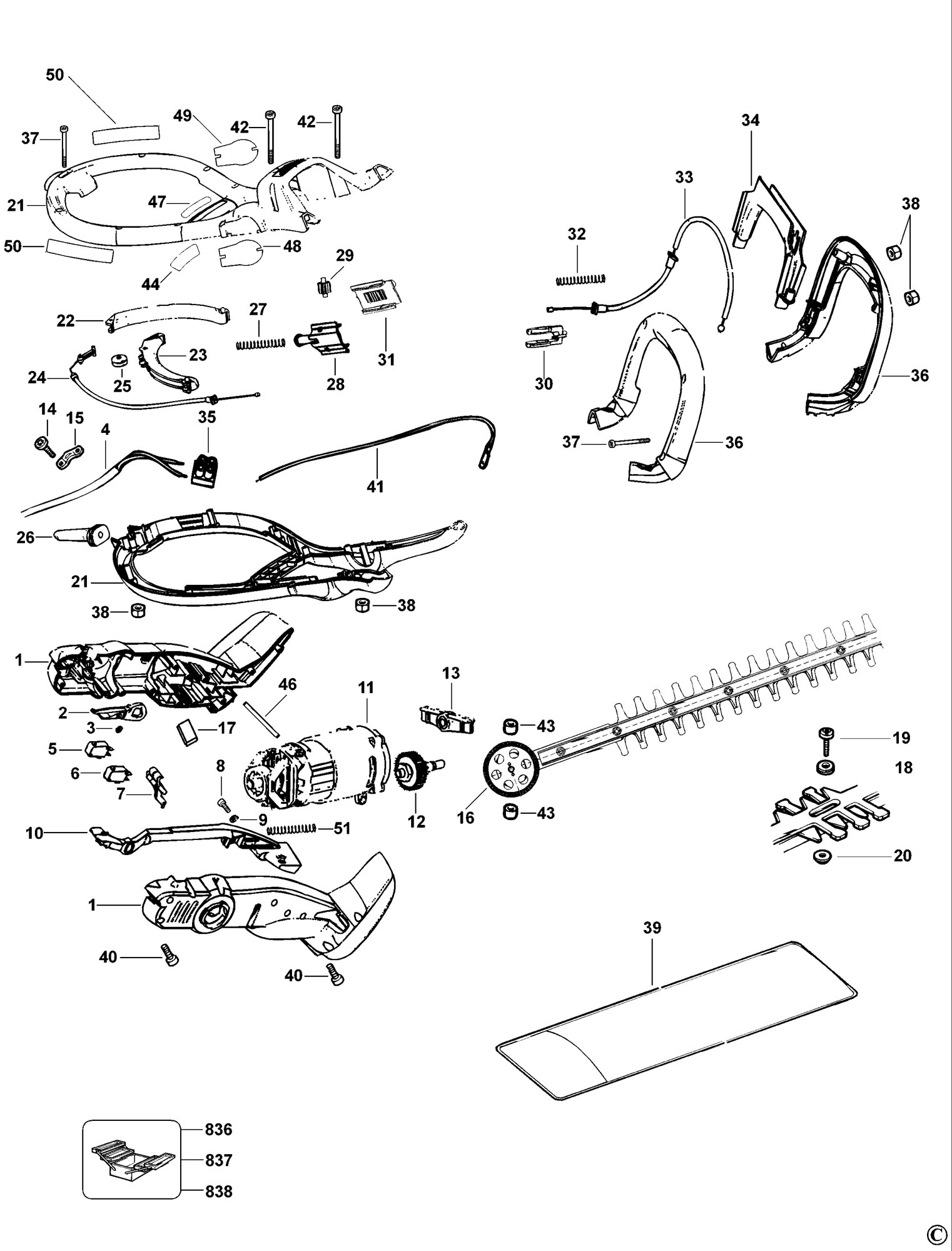 Spares For Black Amp Decker Gt370 Hedgetrimmer Type 1