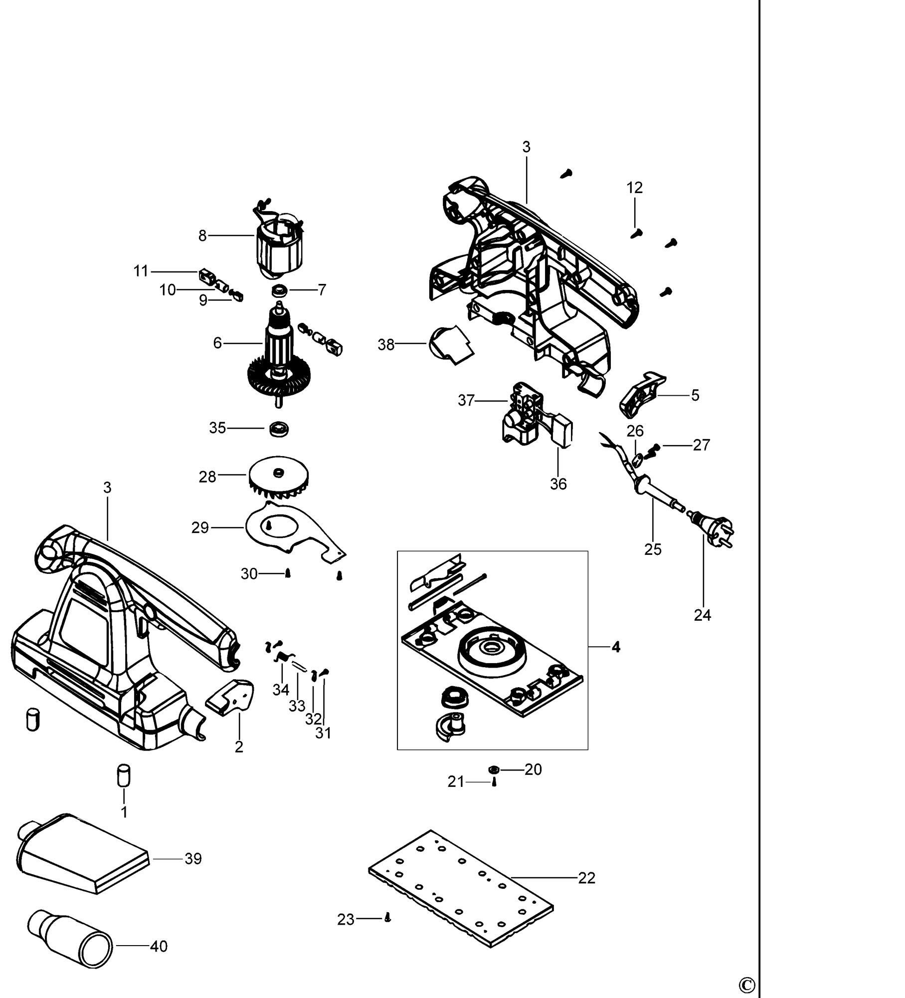 Spares For Black Amp Decker Ka274ek L Orbital Sander Type