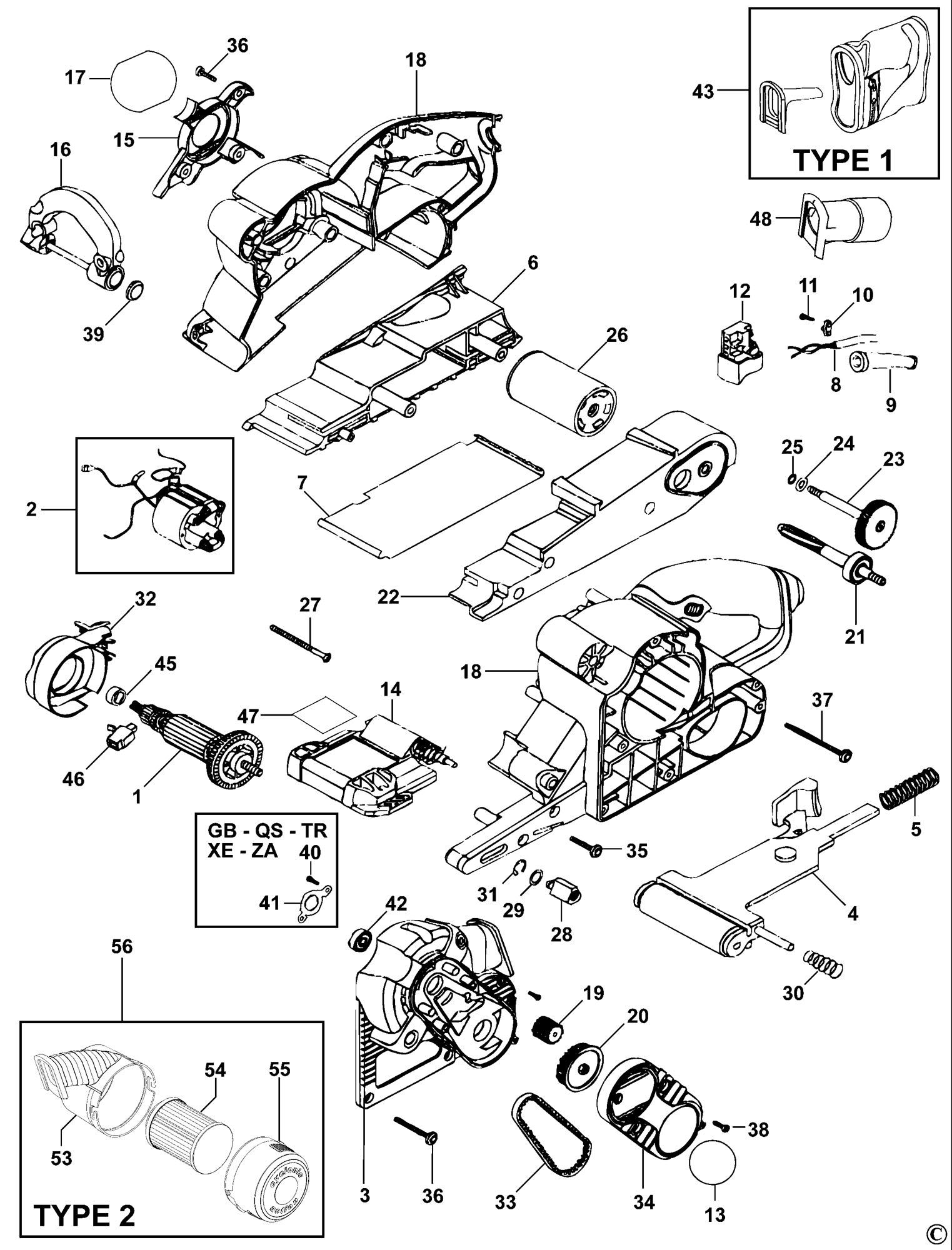 Spares For Black Amp Decker Ka88 Belt Sander Type 1 2