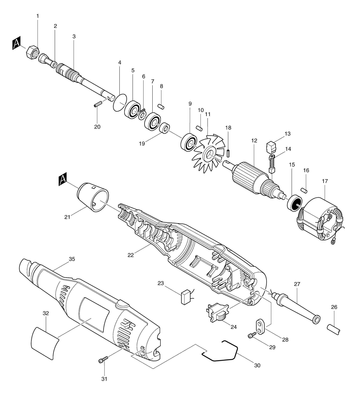 Spares For Makita 906 Corded 6mm Grinder 110v Amp 240v