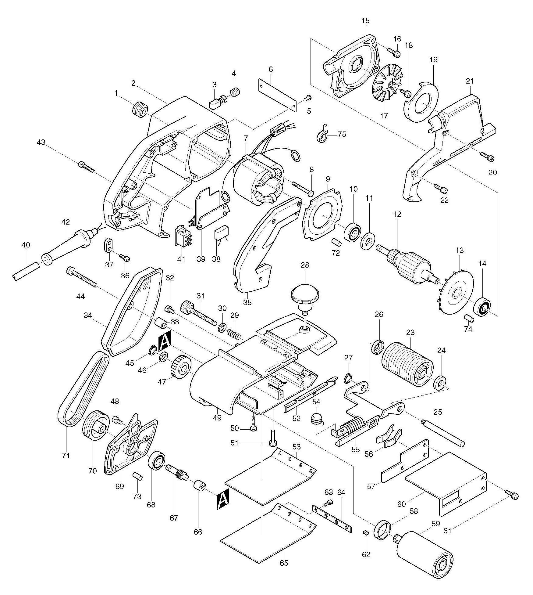 Spares For Makita Corded Belt Sander 100 X 610mm 110v