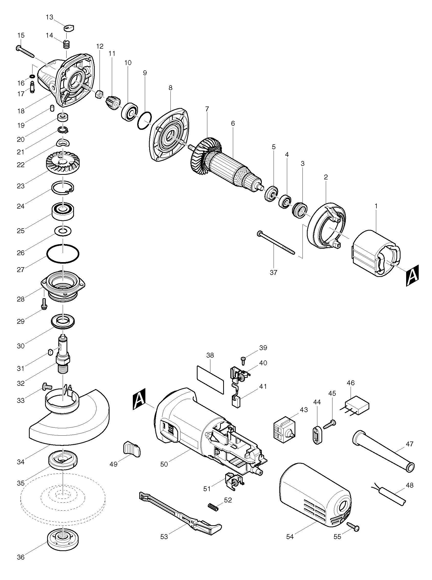 Spares For Makita Nb 125mm 5 Angle Grinder 110v