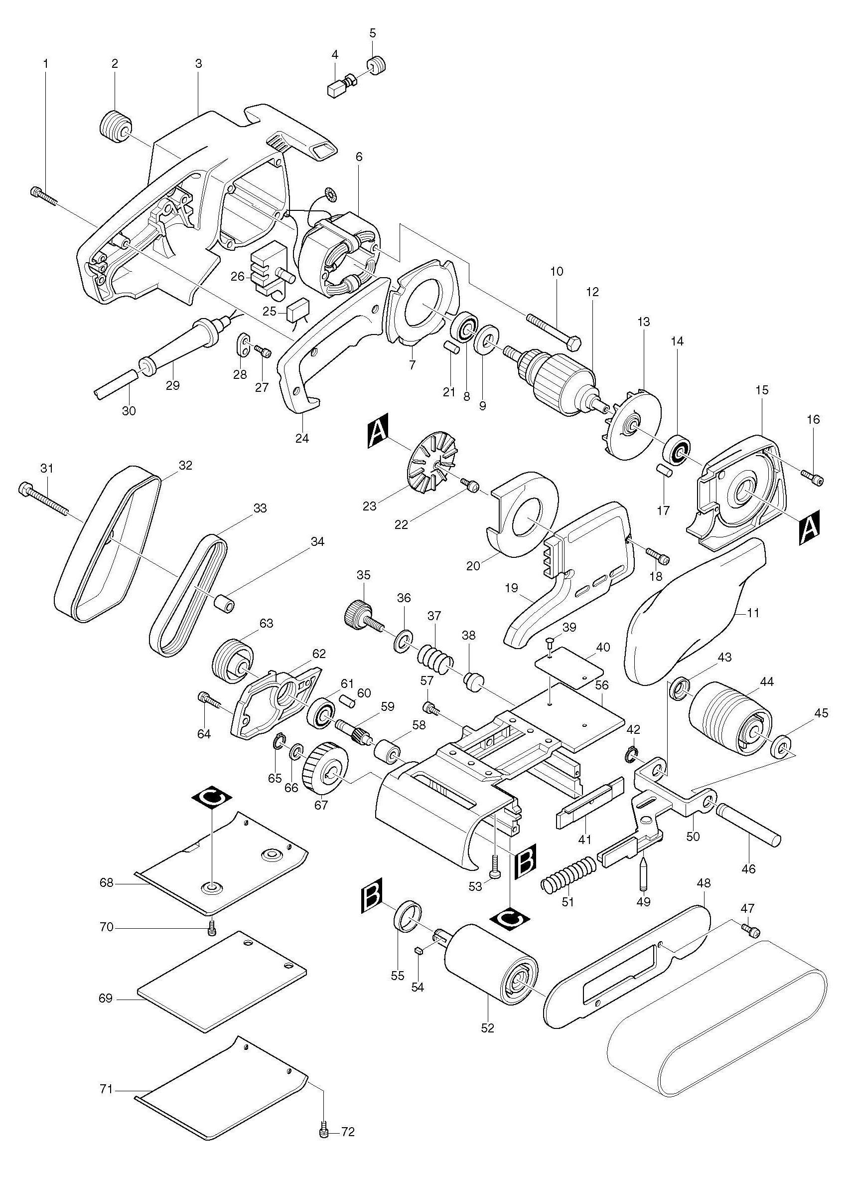 Spares For Makita B Corded 76 X 534mm Belt Sander 110v