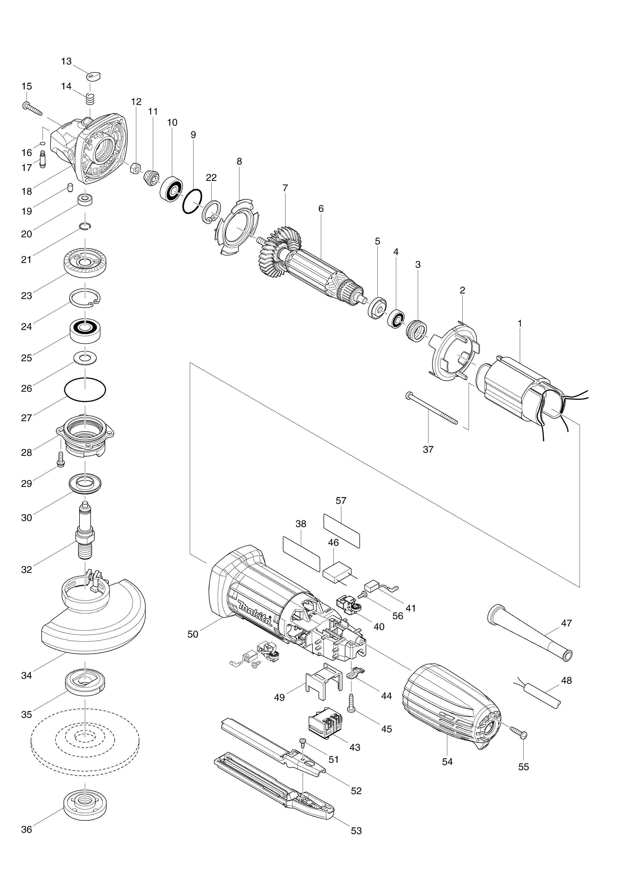 Spares For Makita Ga 115mm Angle Grinder 110v 240v