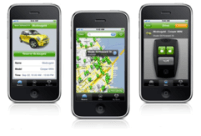 ZipCar app enables the customer to locate a car, reserve it and open / close it