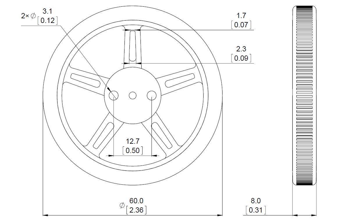 Pololu Wheel For Feetech Fs90r Micro Servo 60 8mm Pair