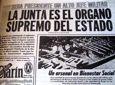 Clarin's first page right when the coup d'était started.