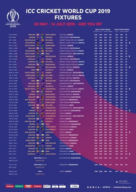 Cricket World Cup 2019 Final Schedule