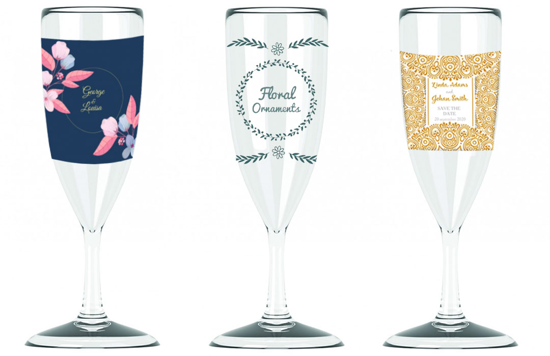 lot 96 flutes de champagne personnalise reutilisable