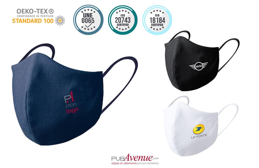 Masque de protection avec logo