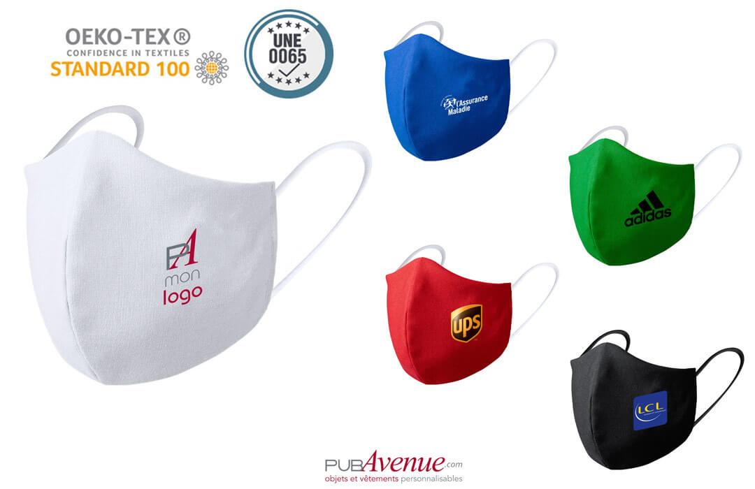 masque de protection covid personnalisé avec logo entreprise