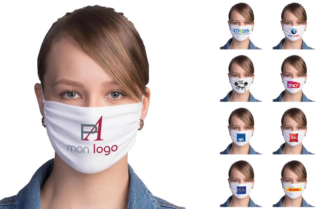 masque en tissu personnalisé avec logo