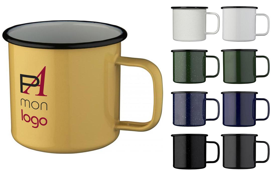 mug rétro en métal émaillé personnalisable
