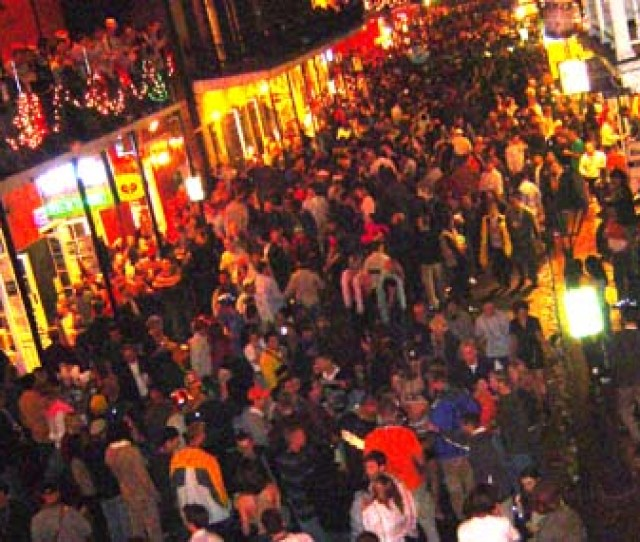 The Scene On Bourbon Street In New Orleans On New Years Eve