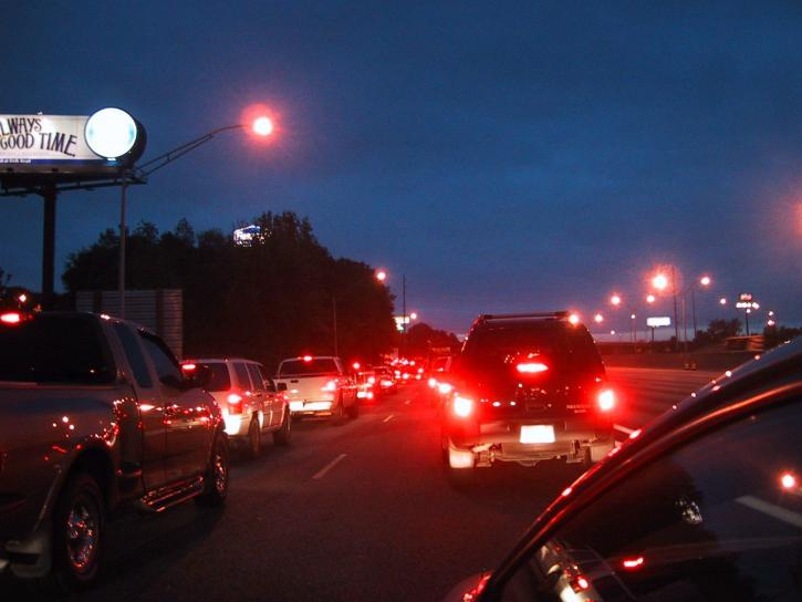 gridlock, traffic, jam, twighlight
